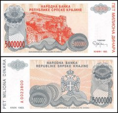 Croatia 5 Million Dinara Banknote, 1993, P-R24, UNC