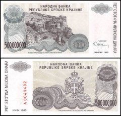 Croatia 500 Million Dinara Banknote, 1993, P-R26, UNC