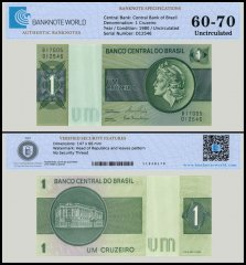 Brazil 1 Cruzeiro Banknote, 1980, P-191Ac, UNC, TAP Authenticated