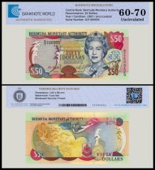 Bermuda 50 Dollars Banknote, 2007, P-54b, UNC, TAP 60 - 70 Authenticated