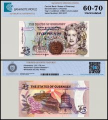 Guernsey 5 Pounds Banknote, 1996, P-56b, UNC, TAP 60 - 70 Authenticated