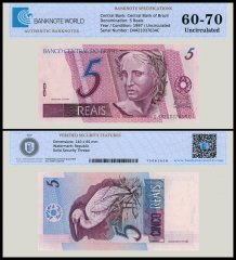 Brazil 5 Reais Banknote, 1997, P-244A, UNC, TAP Authenticated