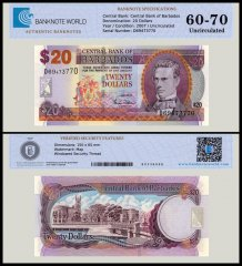 Barbados 20 Dollars Banknote, 2007, P-69a, UNC, TAP Authenticated