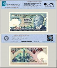 Turkey 500 Lira Banknote, 1983, P-195, UNC, TAP 60 - 70 Authenticated