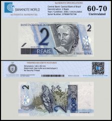 Brazil 2 Reais Banknote, 2001, P-249, UNC, TAP 60-70 Authenticated