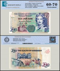 Guernsey 10 Pounds Banknote, 1995, P-57c, UNC, TAP 60 - 70 Authenticated