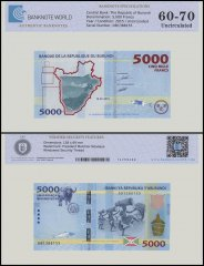 Burundi 5,000 Francs Banknote, 2015, P-53, UNC, TAP 60-70 Authenticated