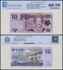 Fiji 10 Dollars Banknote, 2007, P-111a, UNC, TAP Authenticated