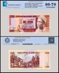 Guinea Bissau 1,000 Pesos Banknote, 1993, P-13b, UNC, TAP 60-70 Authenticated