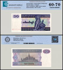 Myanmar 10 Kyats Banknote, 1996, P-71, UNC, TAP 60 - 70 Authenticated