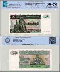 Myanmar 20 Kyats Banknote, 1994, P-72a, UNC, TAP 60 - 70 Authenticated