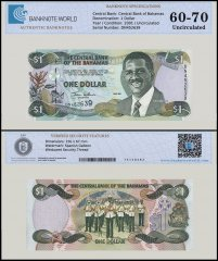 Bahamas 1 Dollar Banknote, 2001, P-69, UNC, TAP 60 - 70 Authenticated