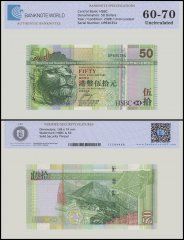 Hong Kong 50 Dollars Banknote, 2008, P-208e, UNC, TAP 60 - 70 Authenticated
