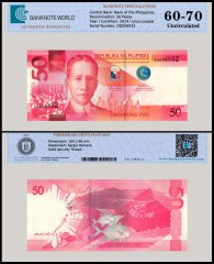 Philippines 50 Pesos Banknote, 2014, P-207, UNC, TAP 60-70 Authenticated
