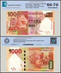 Hong Kong 1,000 Dollars Banknote, 2013, P-216c UNC, TAP 60-70 Authenticated