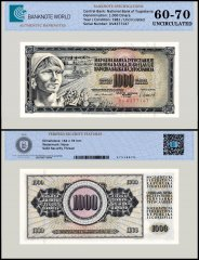 Yugoslavia 1,000 Dinara Banknote, 1981, P-92d, UNC, TAP 60 - 70 Authenticated