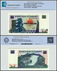 Zimbabwe 20 Dollars Banknote, 1997, P-7, UNC, TAP 60-70 Authenticated