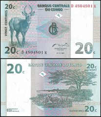 Democratic Republic of Congo 20 Centimes Banknote, 1997, P-83, UNC