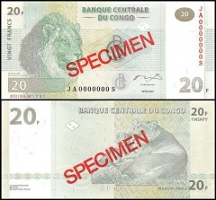 Democratic Republic of Congo 20 Francs Banknote, 2003, P-94s, UNC, Specimen