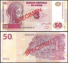 Democratic Republic of Congo 50 Francs Banknote, 2000, P-91s, UNC, Specimen