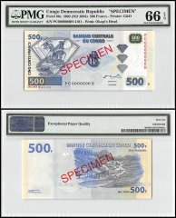 Democratic Republic of Congo 500 Francs, 2002 -ND 2004, P-96s, Specimen, PMG 66
