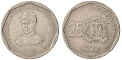Dominican Republic 25 Pesos 8.56g Copper/Nickel Coin, 2008, KM # 107, Mint, Luperon