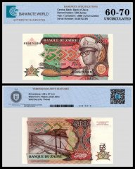 Zaire 500 Zaires Banknote, 1989, P-34a, UNC, TAP 60 - 70 Authenticated