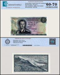 Luxembourg 20 Francs Banknote, 1966, P-54a, UNC, TAP 60 - 70 Authenticated