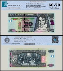 Guatemala 20 Quetzales Banknote, 2015, P-124e, UNC, TAP 60-70 Authenticated