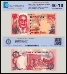 Botswana 20 Pula Banknote, 2006, P-27, UNC, TAP 60-70 Authenticated
