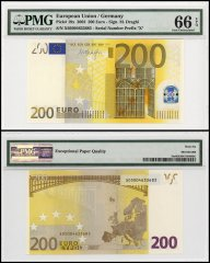 European Union - Germany 200 Euros, 2002, P-19x, Prefix X, PMG 66