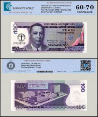 Philippines 100 Piso Banknote, 2008, P-199, UNC, TAP 60 - 70 Authenticated