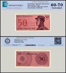 Indonesia 50 Sen Banknote, 1964, P-94, UNC, TAP 60 - 70 Authenticated