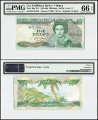 East Caribbean States - Antigua 5 Dollars, 1986, P-18a, Queen Elizabeth II, PMG 66