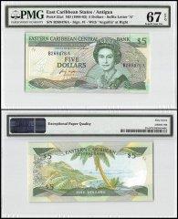 East Caribbean States - Antigua 5 Dollars, ND1988-93, P-22a1, PMG 67