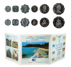 Eastern Caribbean 1 Cent - 1 Dollar, 6 Piece Coin Set, 2000, Mint, Flags, Queen Elizabeth II