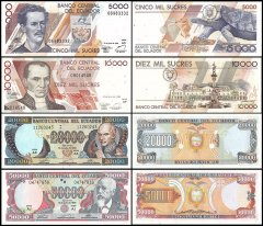 Ecuador 5,000 - 50,000 Sucres 4 Pieces Set, 1999, P-128c-130d, UNC