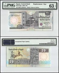 Egypt 20 Pounds, 2009, P-65g, Replacement 600/Star, PMG 63