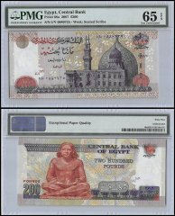 Egypt 200 Pounds, 2007, P-68a, PMG 65