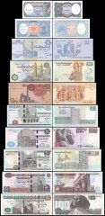 Egypt 5 Piastres - 100 Pounds 10 Pieces Full Set, 1980-2018, P-50-191, UNC