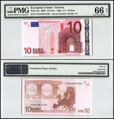 European Union - Greece 10 Euros, 2002, P-9y, Prefix Y, PMG 66