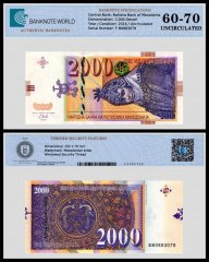 Macedonia 2,000 Denari Banknote, 2016, P-24a, Serial # F B0883079, UNC, TAP 60 - 70 Authenticated