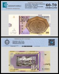 Macedonia 100 Denari Banknote, 2013, P-16k, UNC, TAP 60 - 70 Authenticated