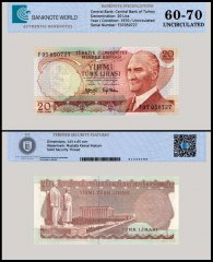 Turkey 20 Lira Banknote, 1970 - 1974, P-187a, UNC, TAP 60 - 70 Authenticated