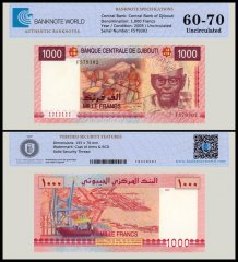 Djibouti 1,000 Francs Banknote, 2005, P-42a, UNC, TAP Authenticated
