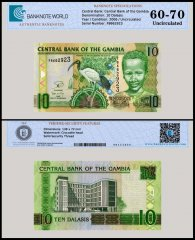 Gambia 10 Dalasis Banknote, 2006 - 2013, P-26c, UNC, TAP Authenticated