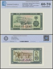 Albania 10 Leke Banknote, 1976, P-43b, UNC, TAP 60 - 70 Authenticated