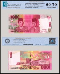 Indonesia 100,000 Rupiah Banknote, 2004, P-144, UNC, TAP 60 - 70 Authenticated