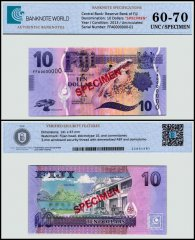 Fiji 10 Dollars Banknote, 2013, P-116s, Specimen, UNC, TAP 60-70 Authenticated