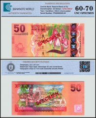 Fiji 50 Dollars Banknote, 2013, P-118s, Specimen, UNC, TAP 60-70 Authenticated